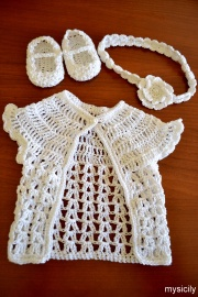 Crochet_Baby cardigan_shoes