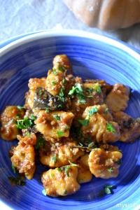 Food_Gnocci zucca - patate_salsa carne - funghi