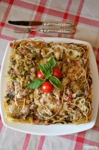 Food_Spaghetti_broccoli_salsiccia_al forno