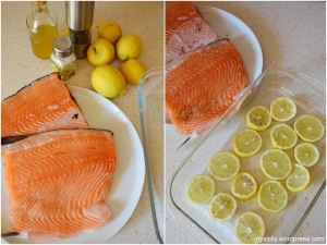 Salmone al forno sul limoni